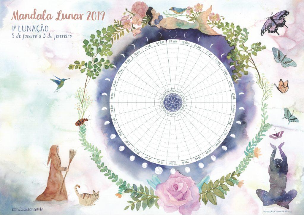 ✶ ☾ Baixe gratuitamente as Lunações da Mandala Lunar 2019 ☽